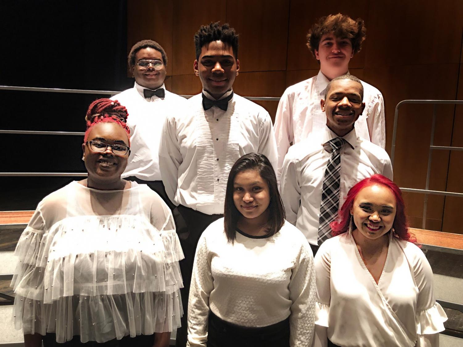 Choir Students participating in Des Lee Festival Back Left to Right; Max McVay, Erik Perkins, and Nathan Whinery. Front Left to Right; Yazmine Kibble, Dianna Godoy, and Daniela Scrima.