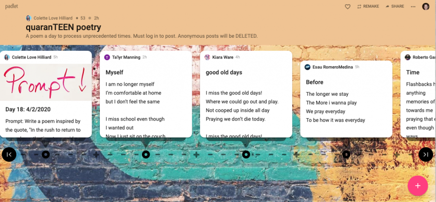 Love-Hilliard uses Padlet for student poetry in quarantine