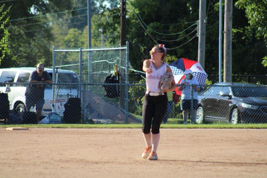 Junior Liz Dobbs warms up in preparation of playing University City.